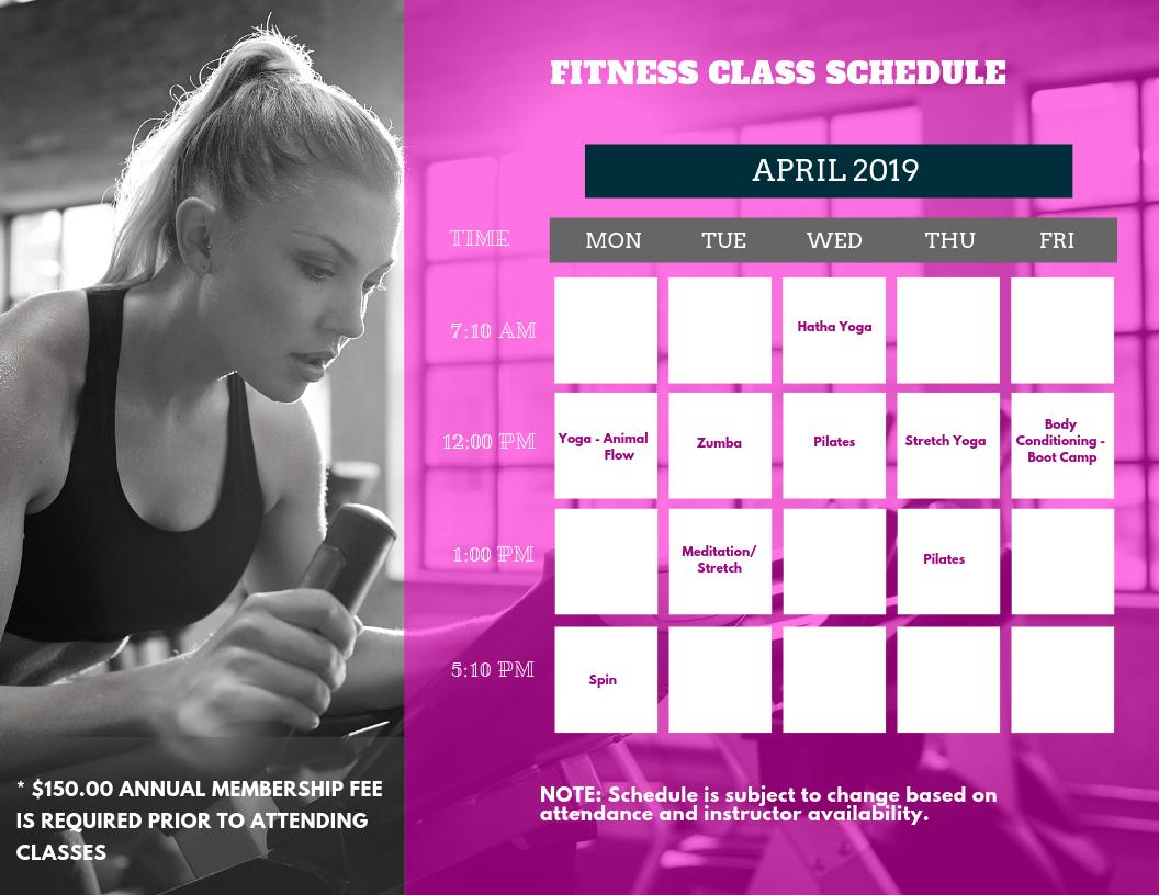 Class Schedule 04.01.2019