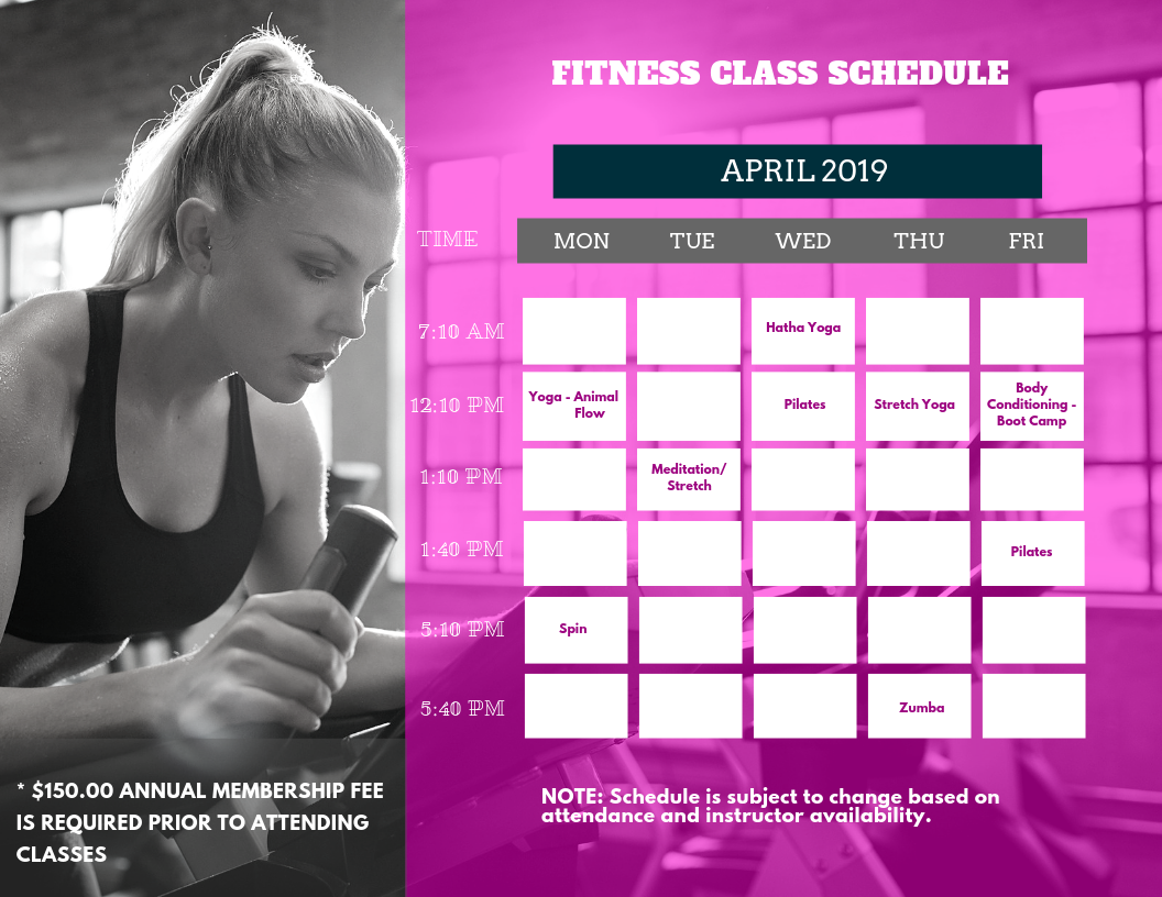 Class Schedule 04.15.2019